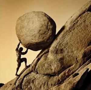 sisyphus rolling bolder up hill