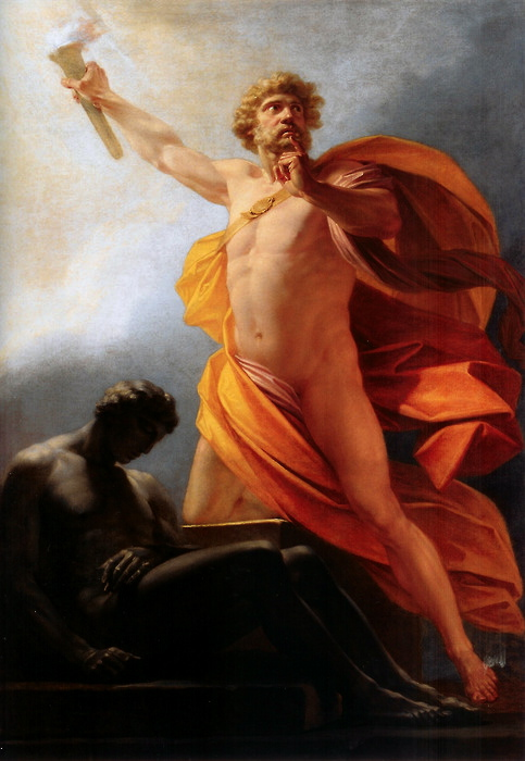 prometheus brings fire to mankind by heinrich feuger